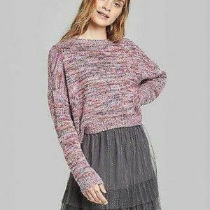 Wild Fable Crewneck Tinsel Sweater Pink XS